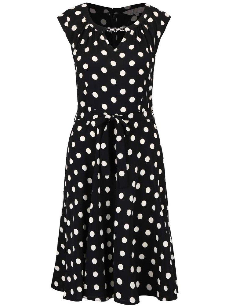 Čierne šaty s bielymi bodkami a ozdobou Dorothy Perkins