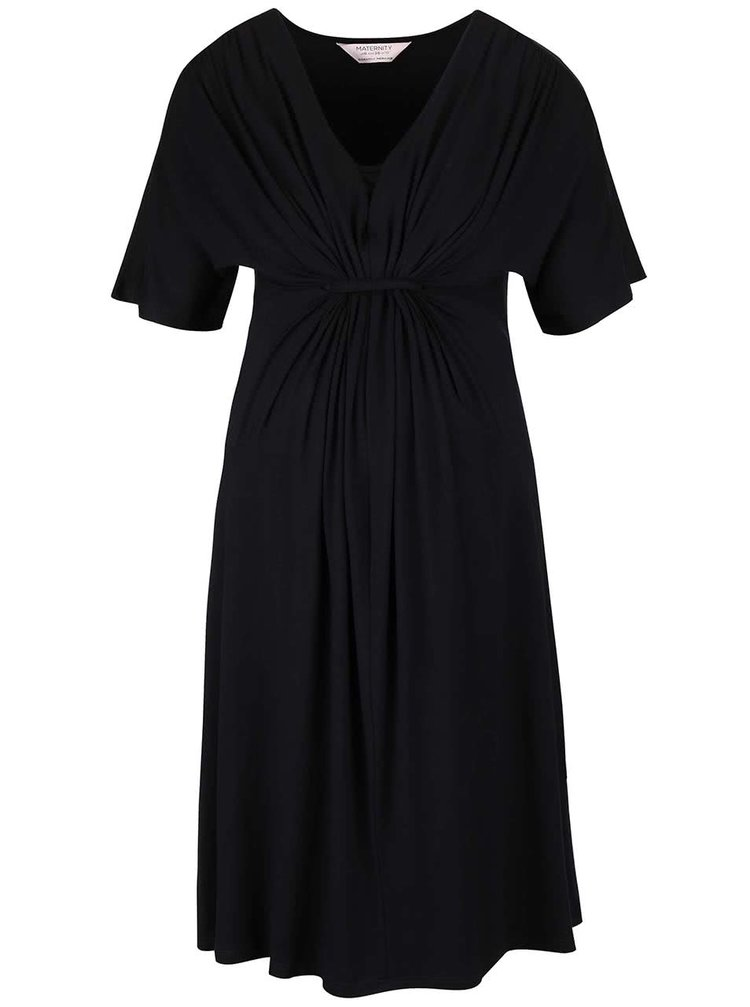 Černé těhotenské šaty s ozdobným řasením Dorothy Perkins Maternity