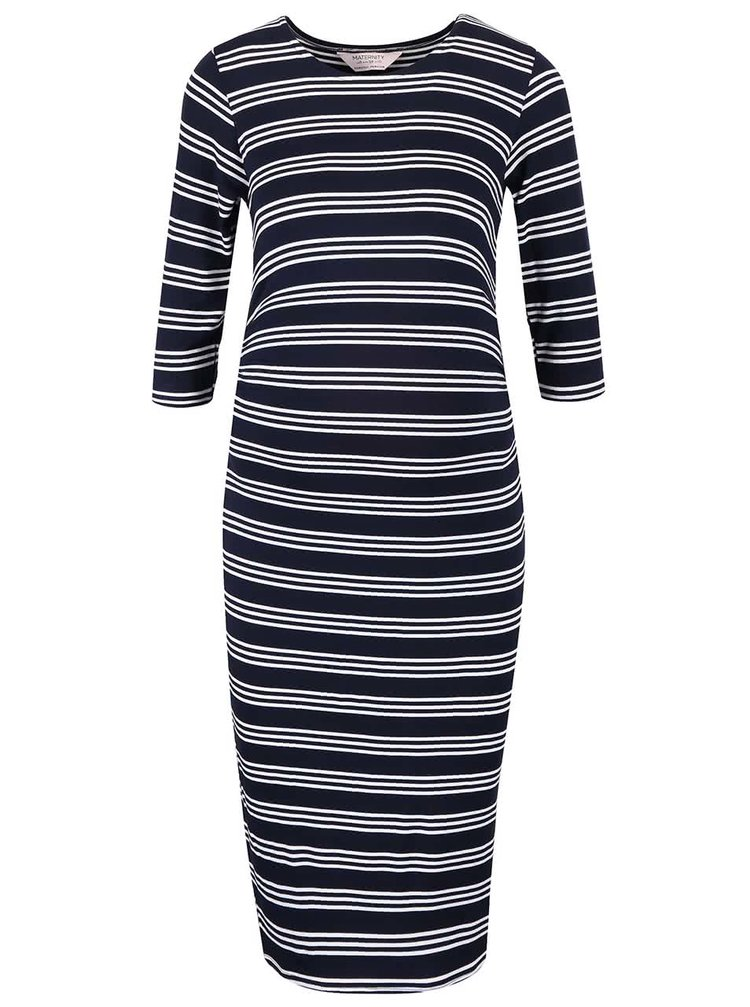 Bílo-modré těhotenské šaty s pruhy Dorothy Perkins Maternity