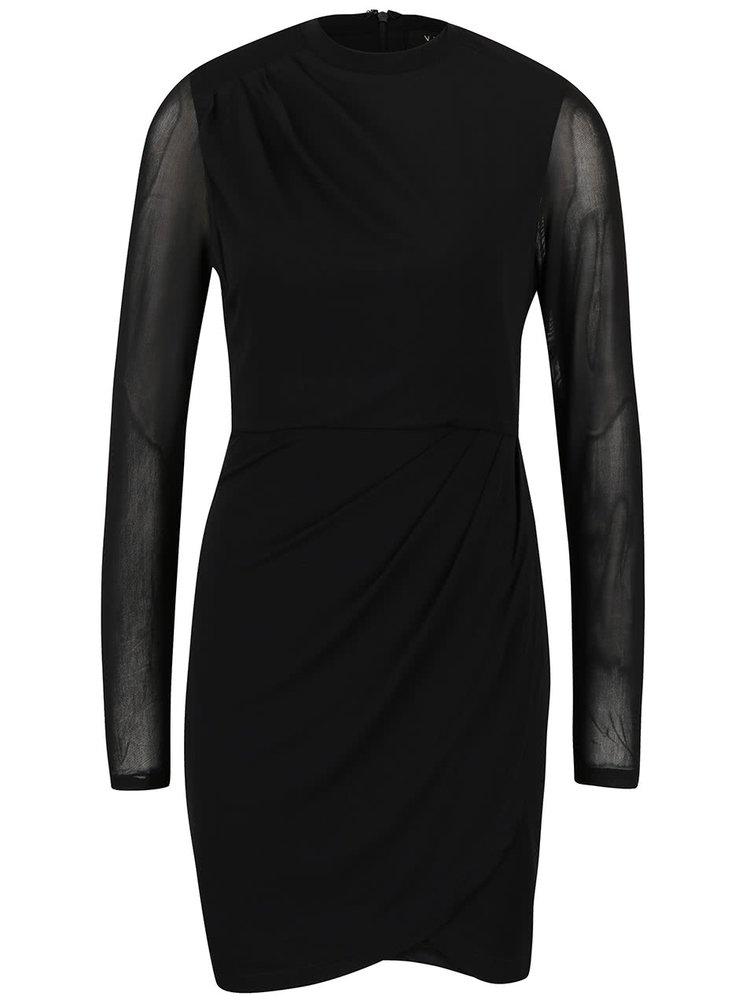 Rochie neagră VILA cu mâneci transparente