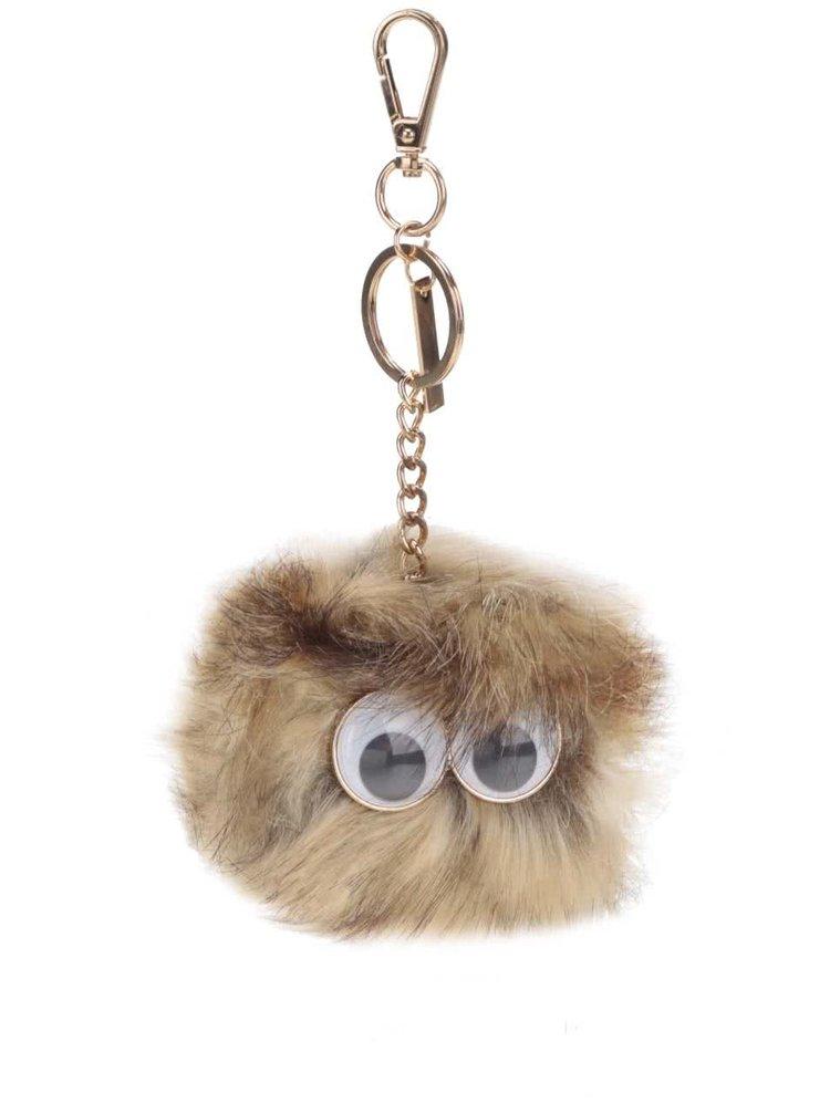 Hnědá klíčenka ve tvaru koule s očima ALDO Nydigong