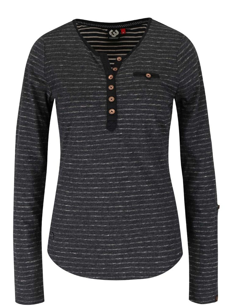 Sivé dámske žíhané pruhované tričko s gombíkmi Ragwear Blaze