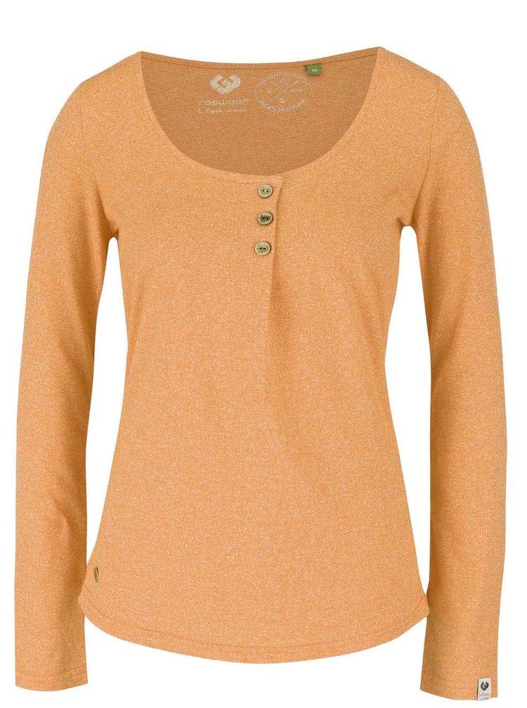 Žlté dámske žíhané tričko s okrúhlym výstrihom a dlhým rukávom Ragwear Mayra Organic