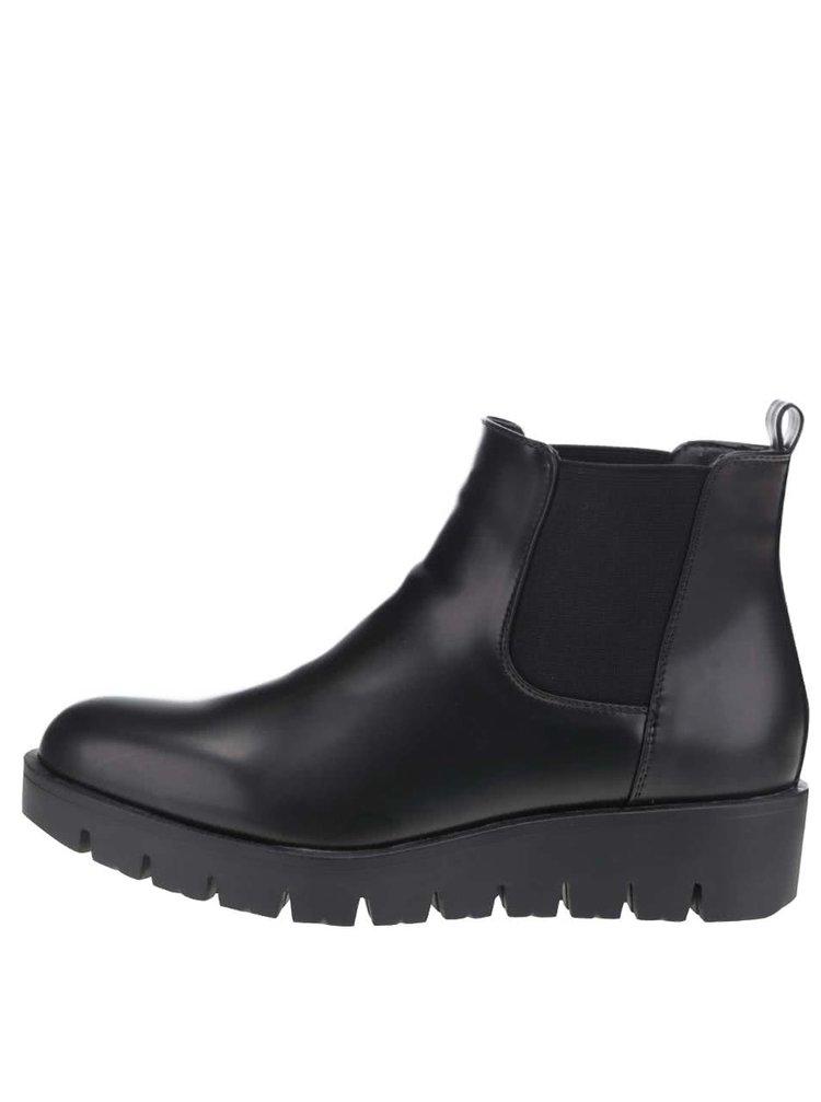 Černé chelsea boty na platformě Pieces Dalle