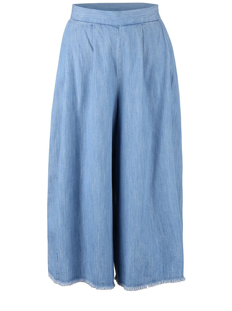 Pantaloni culottes French Connection Cora albastru deschis
