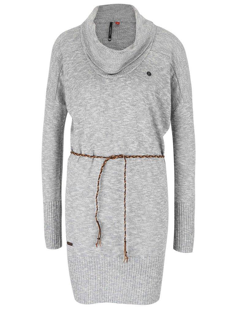 Sivý dámsky melírovaný dlhší sveter s opaskom Ragwear Port
