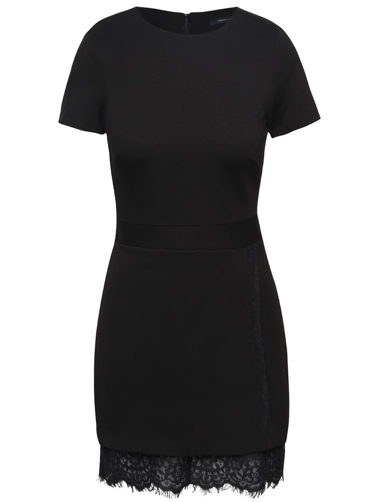 Černé šaty s krajkovou spodničkou French Connection Lula
