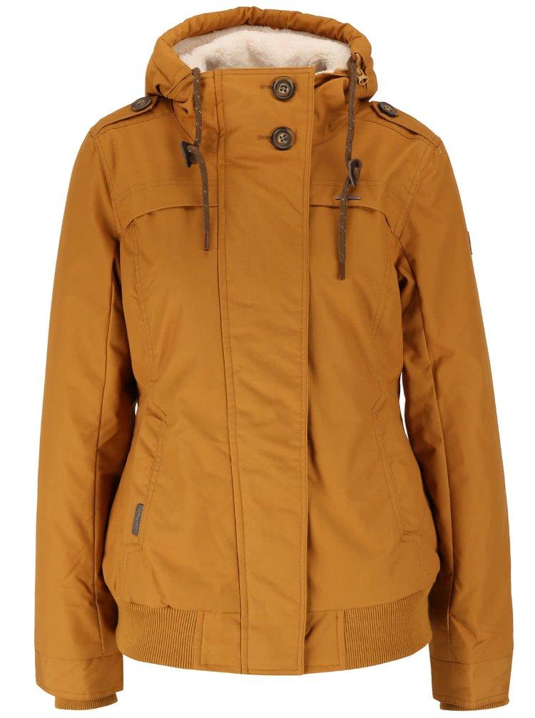 Horčicová dámska bunda s kapucňou Ragwear Ewok