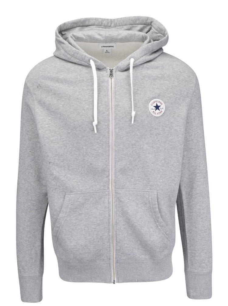 Sivá pánska mikina na zips s kapucňou Converse