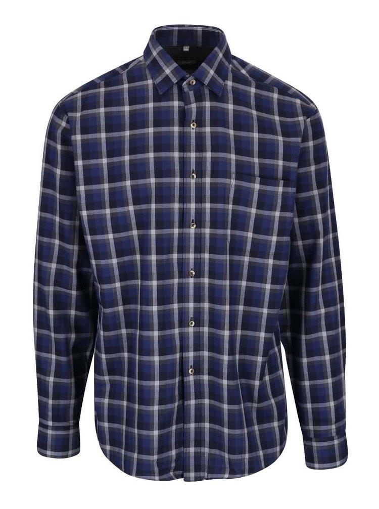 Tmavomodrá kockovaná pánska košeľa Seven Seas