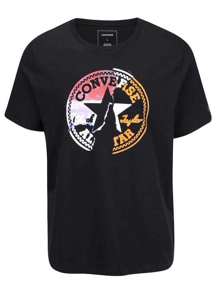 Čierne pánske tričko s farebným logom Converse On the road