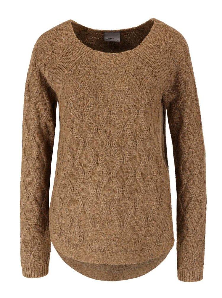 Svetlohnedý sveter s jemným vzorom VERO MODA Raven