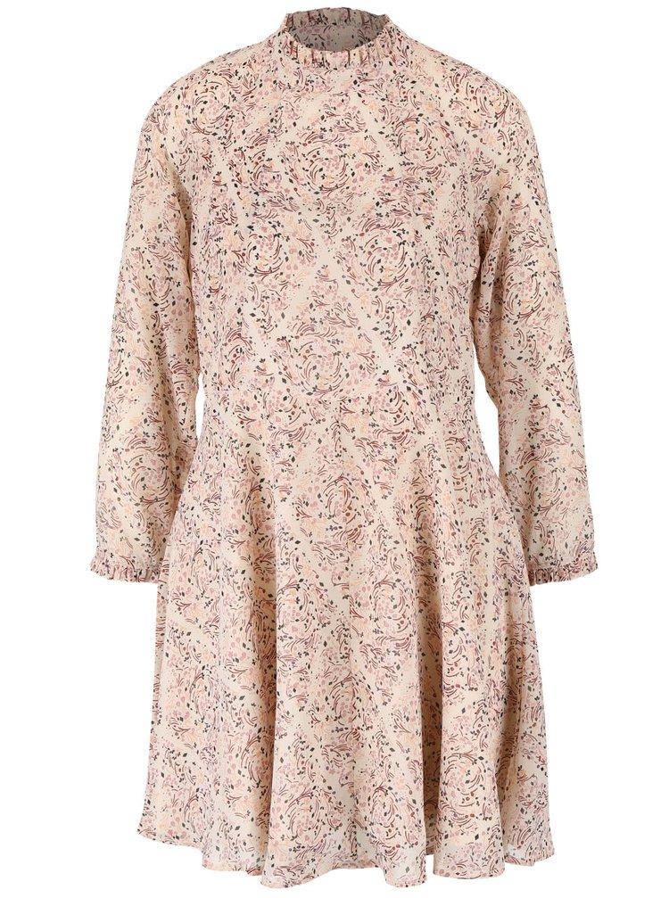 Krémové květované šaty s dlouhým rukávem VERO MODA Harly