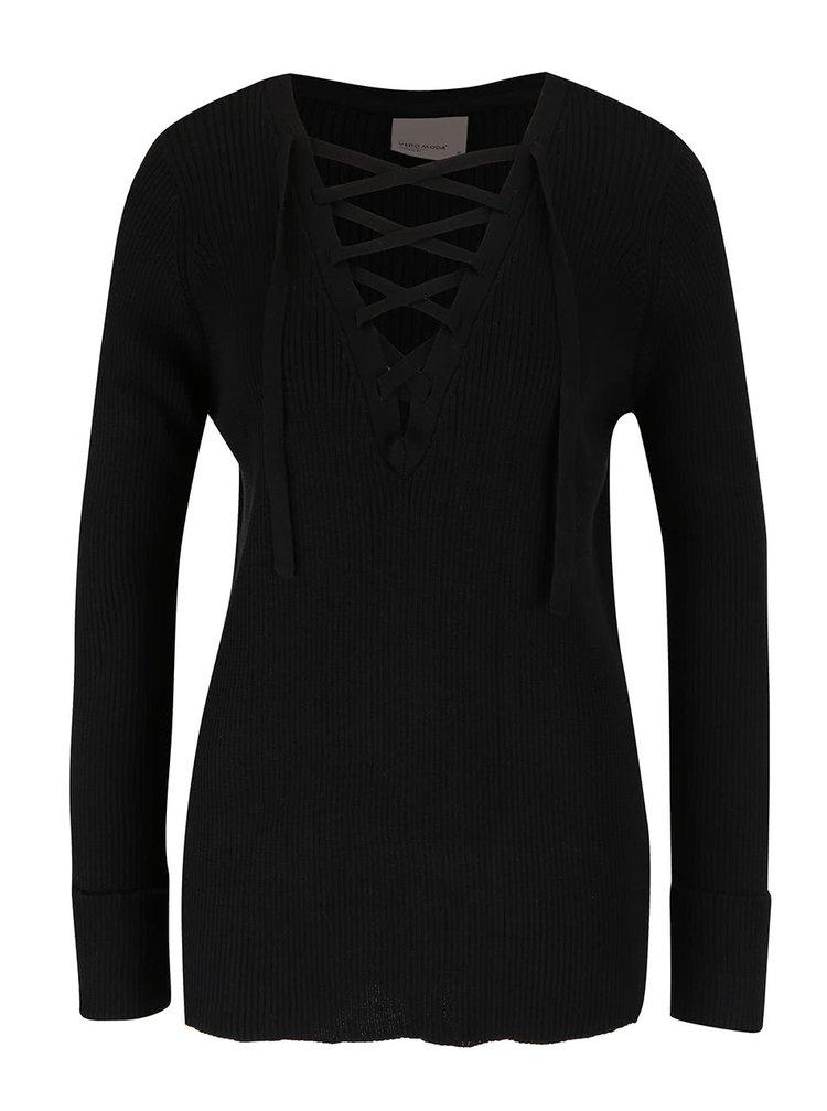 Čierny sveter so šnurovaním VERO MODA Ludwig