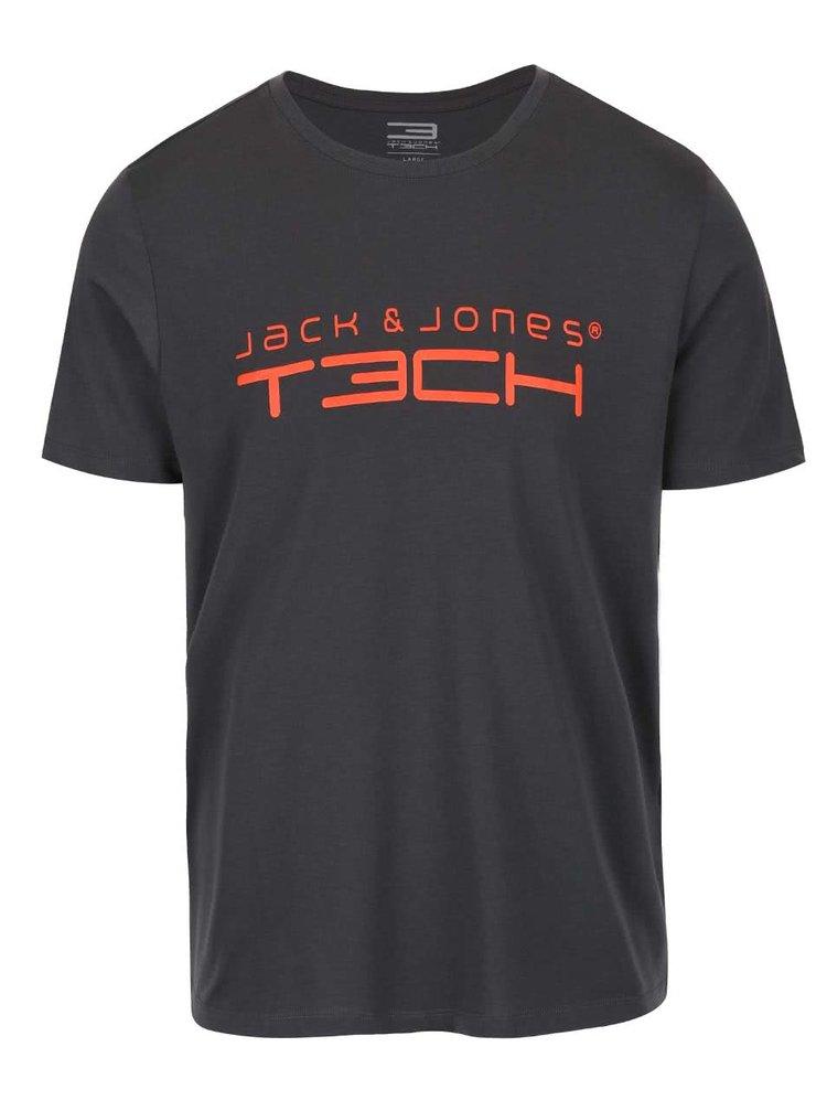 Tmavosivé tričko s potlačou Jack & Jones Foam
