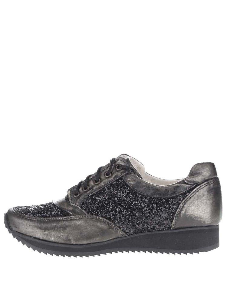 Pantofi sport negri OJJU cu detalii argintii