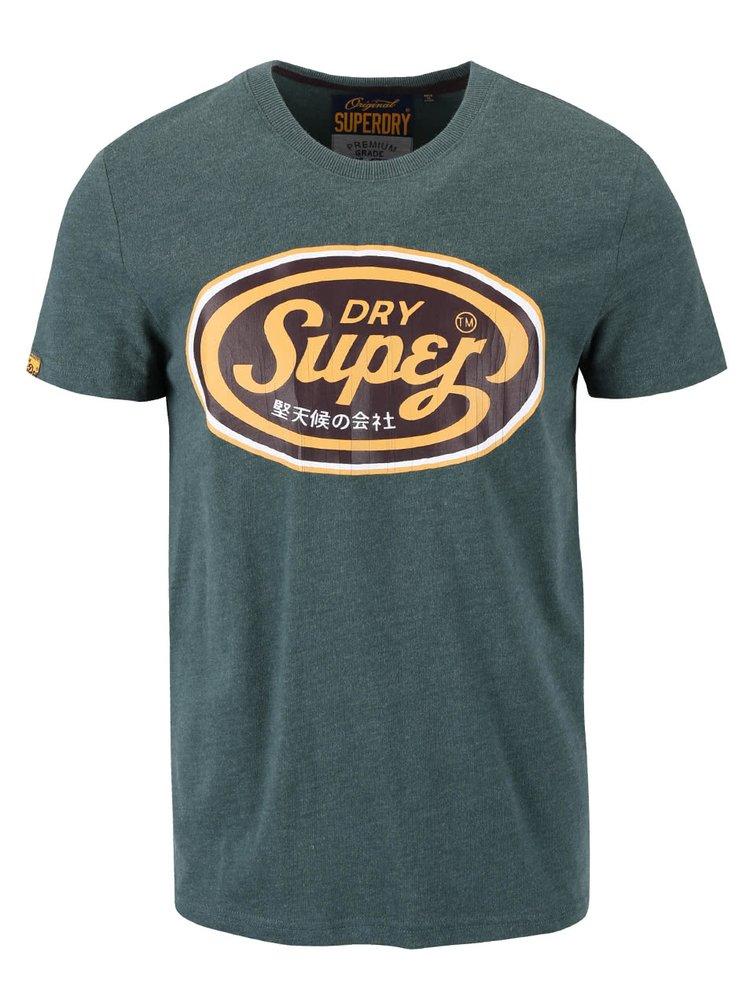 Zelené pánske tričko s hnedou potlačou Superdry