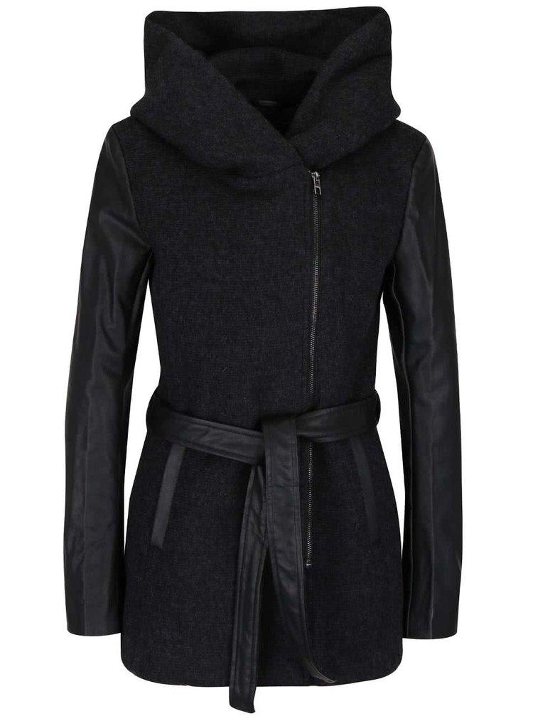 Čierny vlnený kabát s koženkovými rukávmi ONLY Lisford