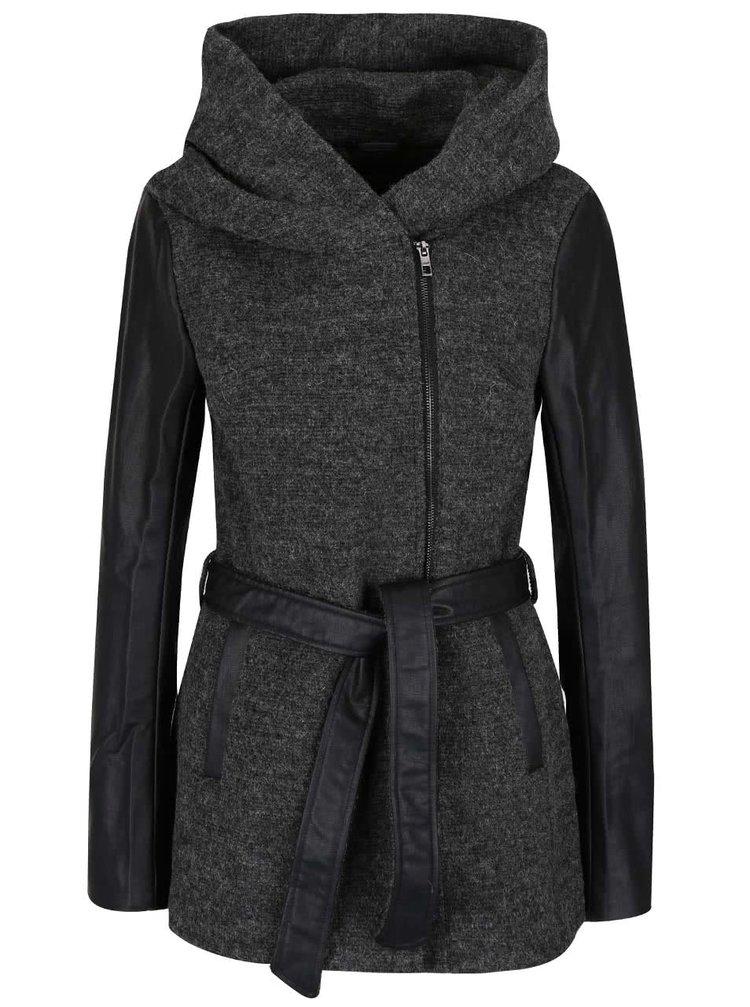 Tmavosivý vlnený kabát ONLY Lisford