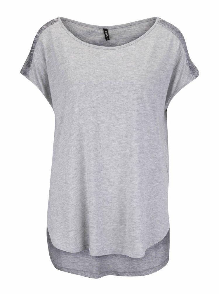 Šedé žíhané tričko s třásněmi na ramenou ONLY Anabella