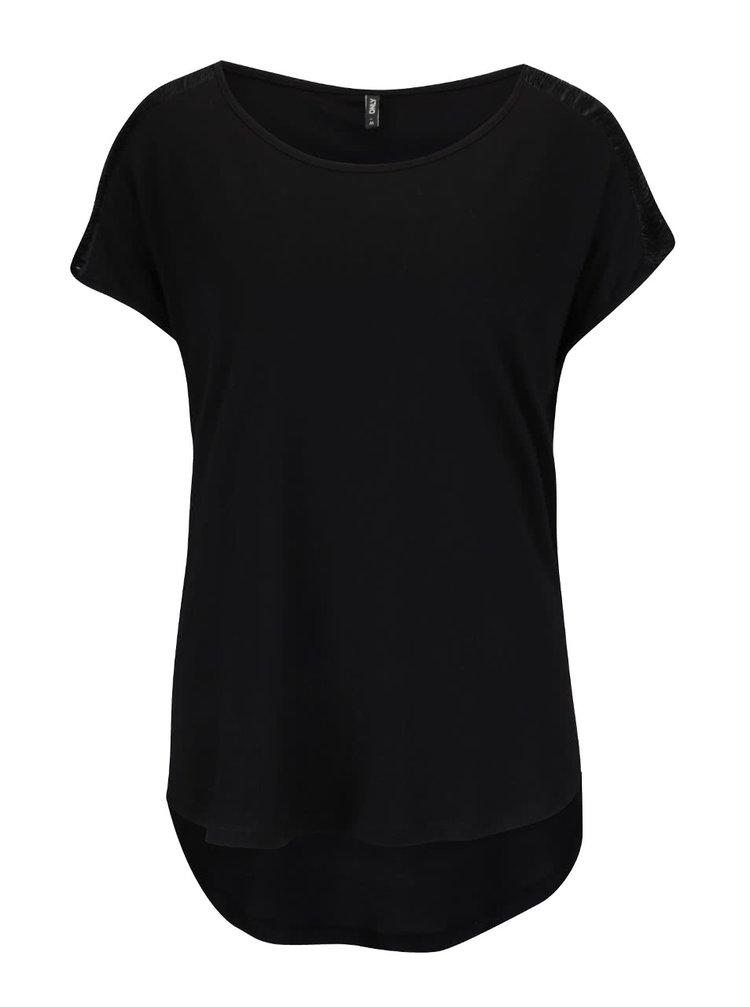 Černé tričko s třásněmi na ramenou ONLY Anabella