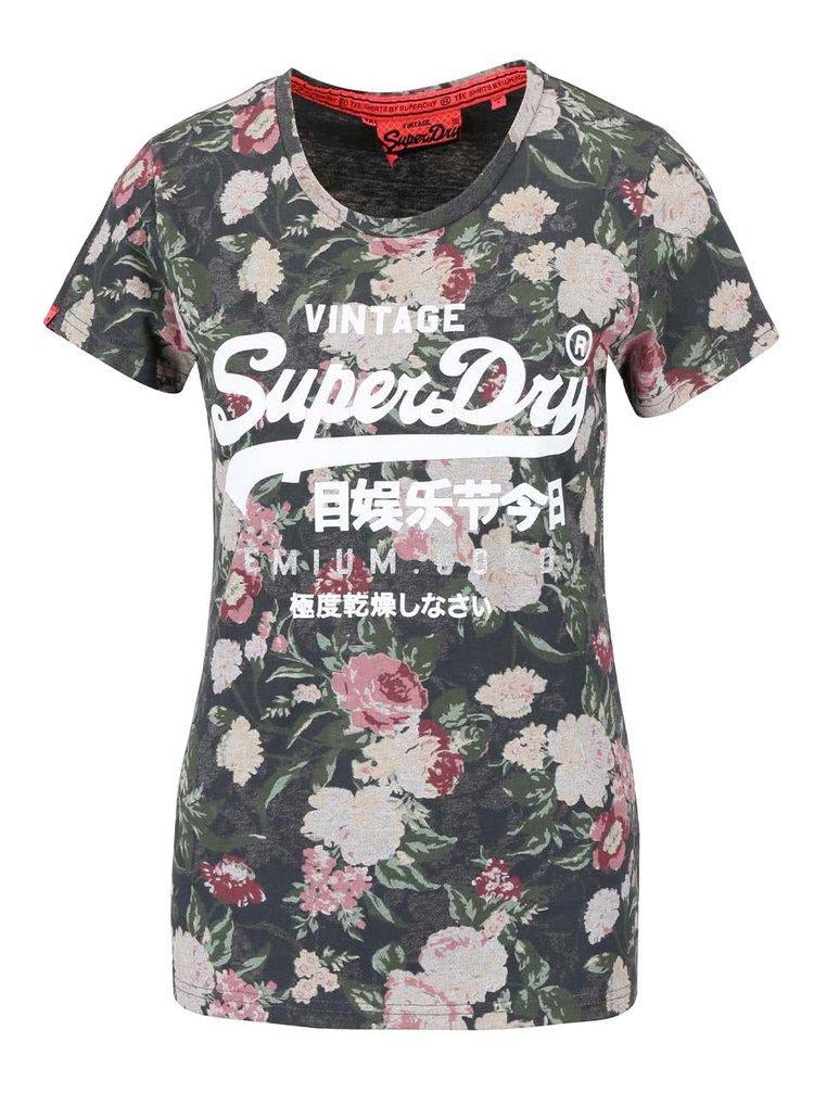 Zelené dámské květované tričko s nápisem Superdry