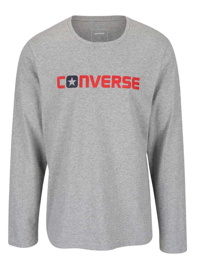 Sivé pánske tričko s nápisom a dlhým rukávom Converse