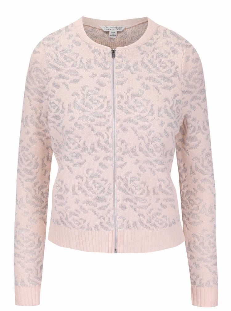 Růžový svetr na zip s detaily ve stříbrné barvě Miss Selfridge