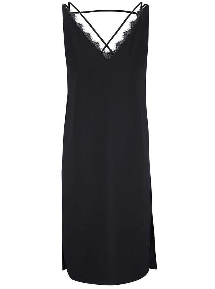 Černé lehké šaty s krajkovým detailem ve výstřihu Miss Selfridge