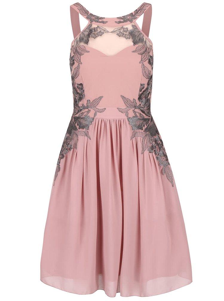 Starorůžové šaty s květovaným detailem Little Mistress