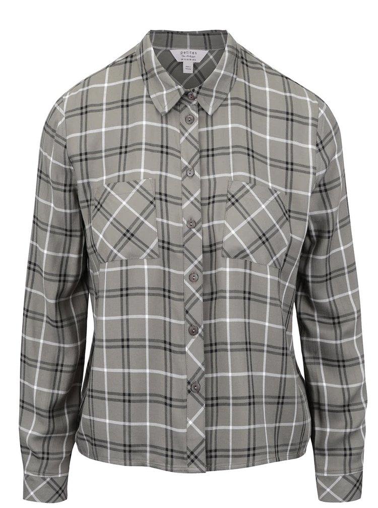 Khaki kockovaná košeľa Miss Selfridge
