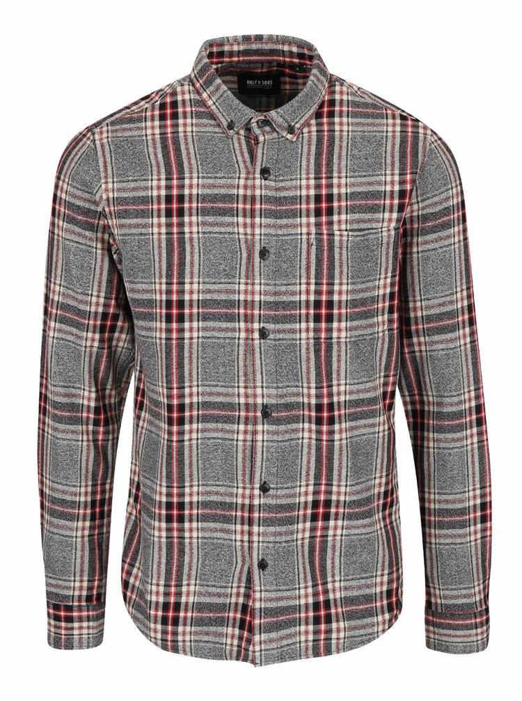 Červeno-sivá károvaná košeľa ONLY & SONS Tristan