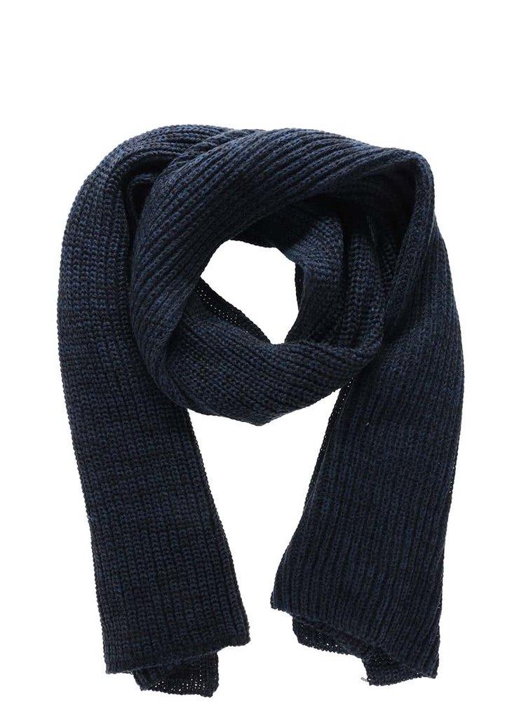 Tmavomodrý pletený šál Blend