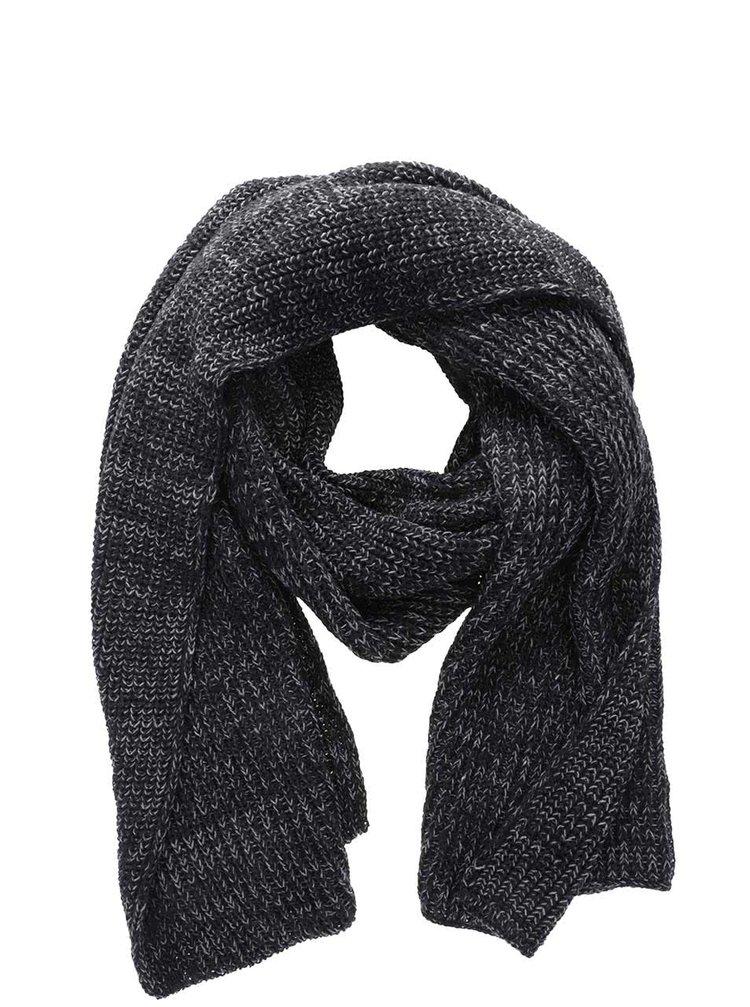 Čierny melírovaný pletený šál Blend