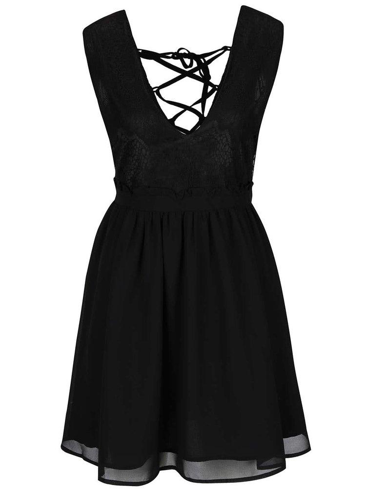 Černé krátké šaty se šněrováním na zádech LYDC