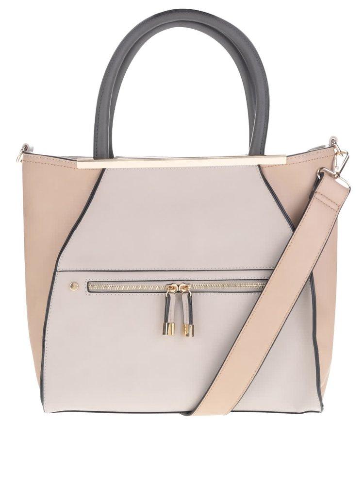 Růžovo-šedá kabelka do ruky Miss Selfridge