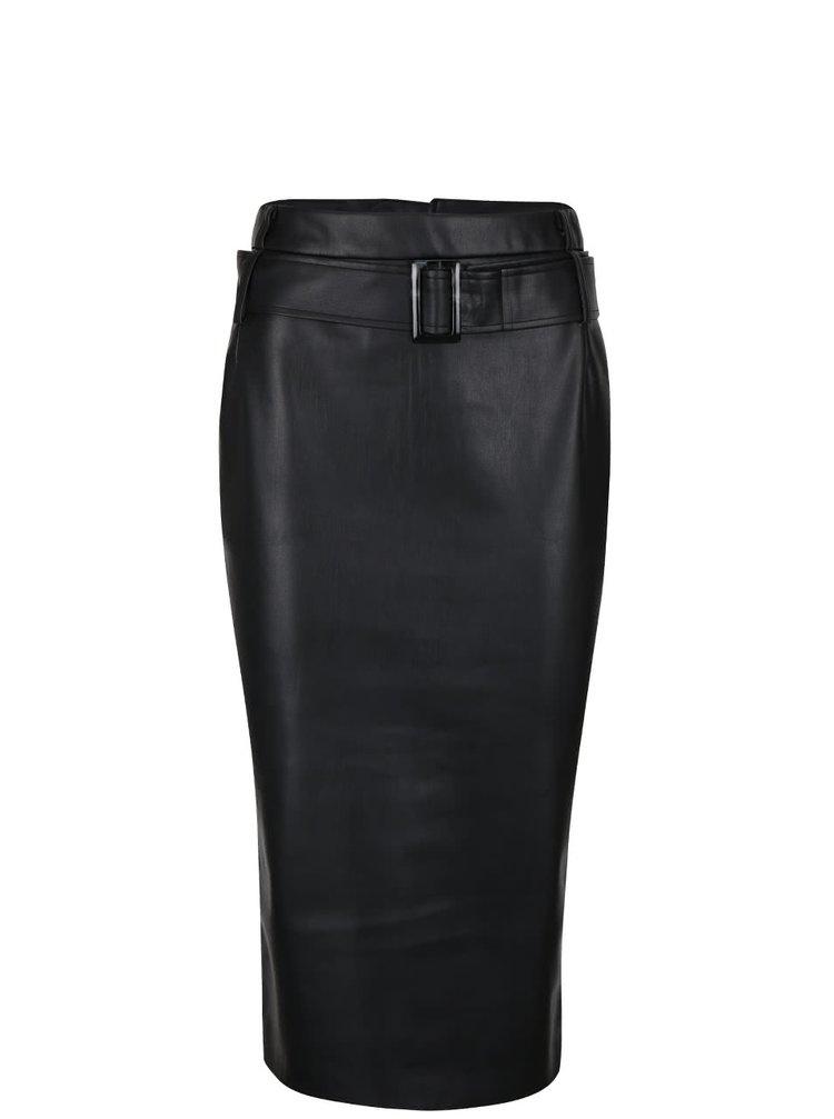 Čierna koženková sukňa s opaskom Dorothy Perkins