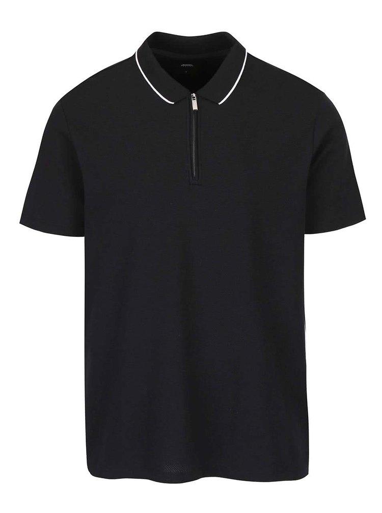 Tricou polo negru Burton Menswear London cu fermoar