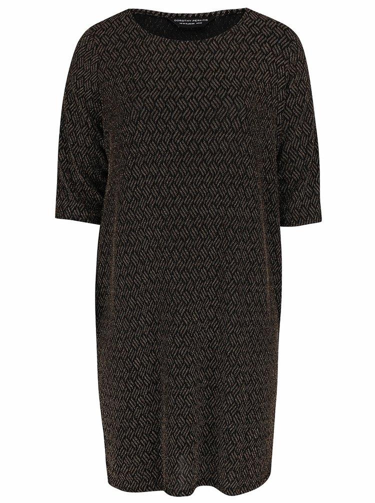 Čierne šaty s metalickým vláknom v zlatej farbe Dorothy Perkins Curve