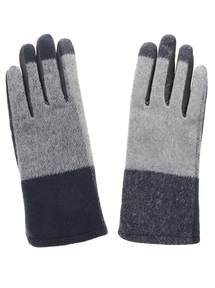 Sivo-čierne kožené rukavice Pieces Pecheck