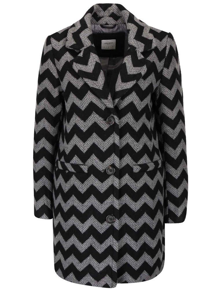Sivo-čierny vzorovaný kabát VERO MODA Zig