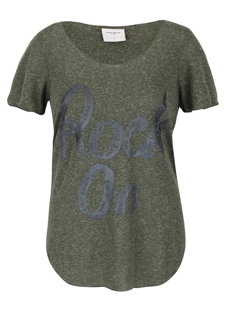 Kaki melírované tričko s potlačou VERO MODA Lua