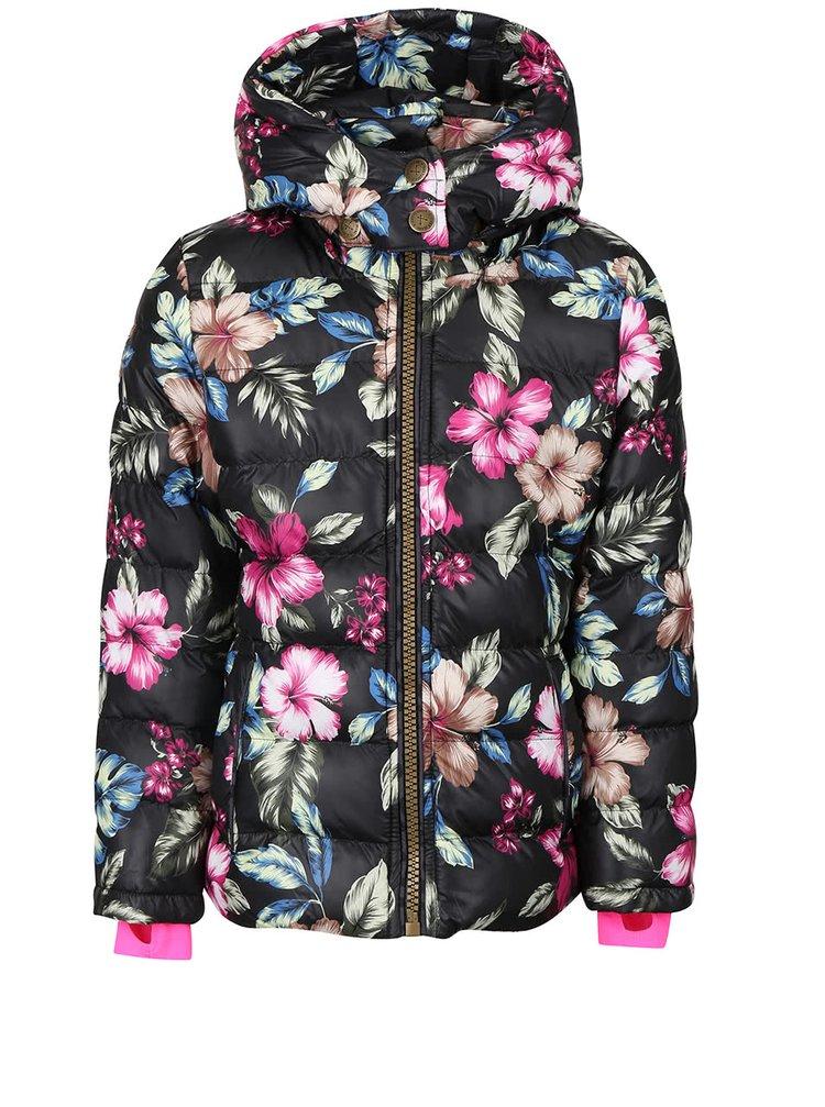 Černá holčičí květovaná bunda s kapucí Cars Jeans Pip