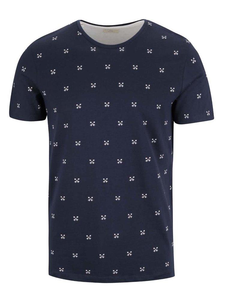 Tmavomodré tričko so vzorom Selected Homme New Luke