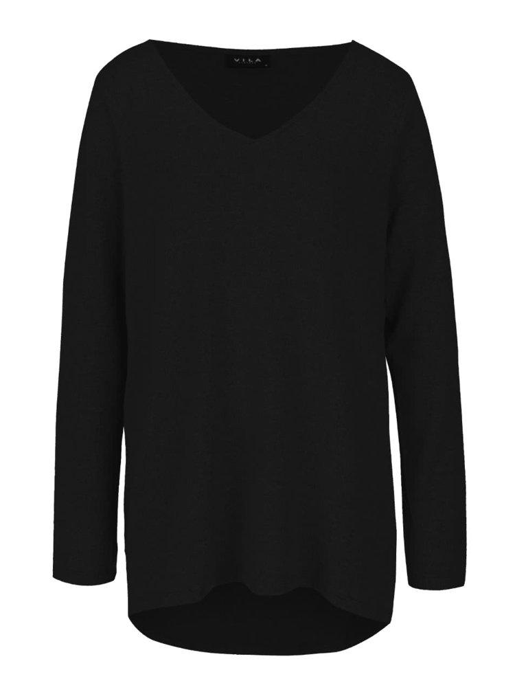 Černý lehký svetr s véčkovým výstřihem VILA Lune
