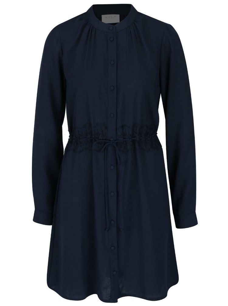 Tmavomodré šaty na zapínanie s dlhými rukávmi VILA Cloe