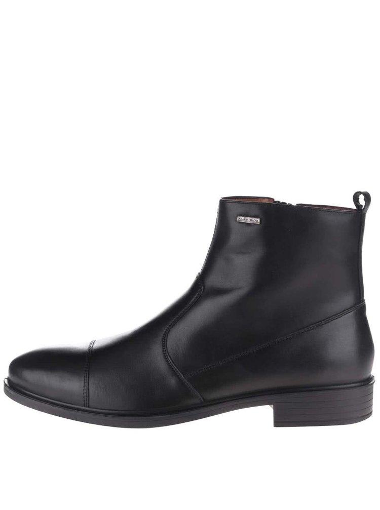 Černé pánské kožené kotníkové boty Geox Loris