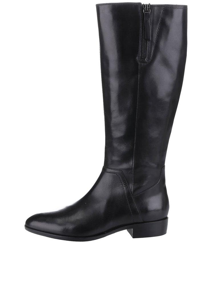 Čierne dámske kožené čižmy so zipsom Geox Lover C