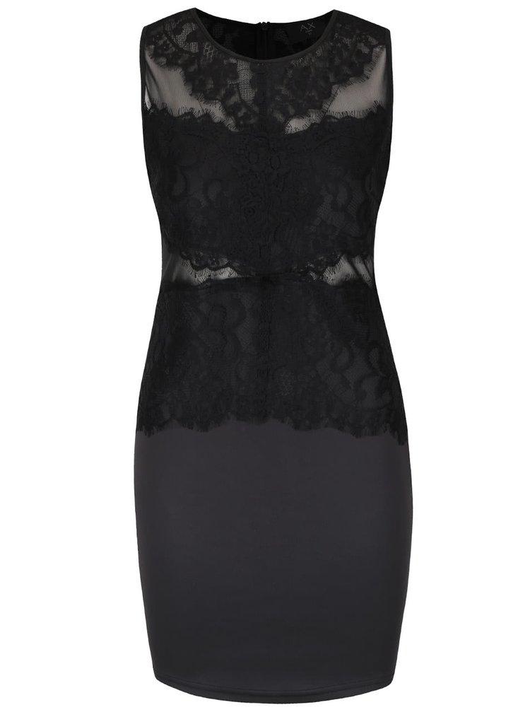 Čierne priliehavé šaty s čipkou AX Paris