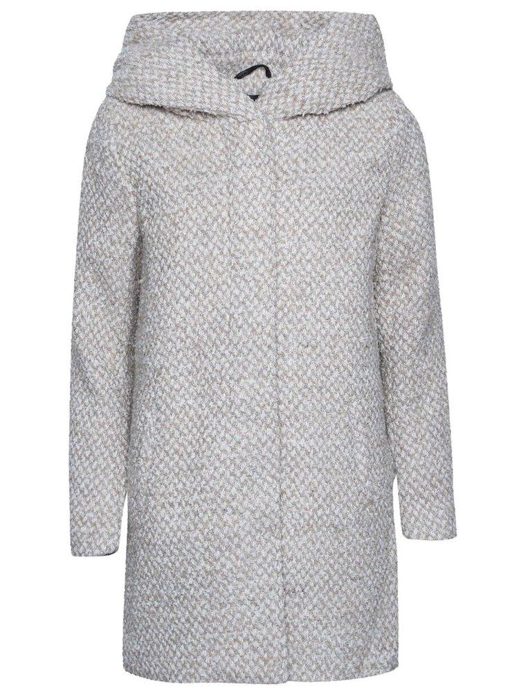 Krémový žíhaný kabát s kapucí ONLY New Indie